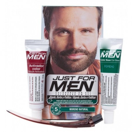 JUST FOR MEN BIGOTE Y BARBA GEL COLORANTE 30 CC MORENO