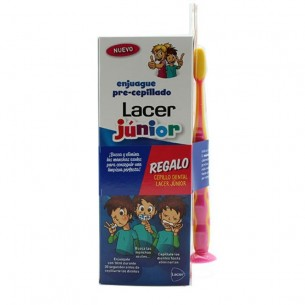 KIT ENJUAGUE PRECEPILLADO + CEPILLO DENTAL LACER JUNIOR
