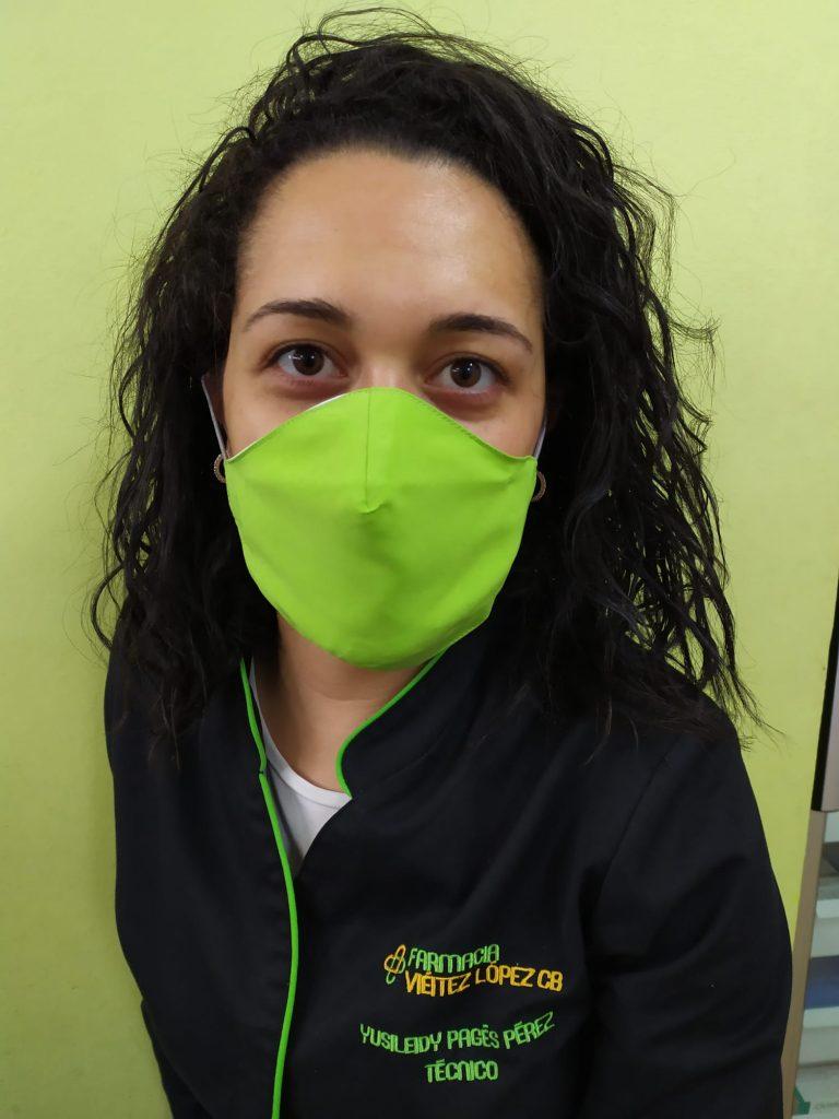 mascarilla reutilizable, tejido patentado repelente de líquidos y partículas sólidas